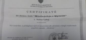 """Bashkia Shkodër jep titullin """"Mirënjohje e Qytetit"""" për këngëtarin e njohur Shaban Gjekaj (foto, video)"""