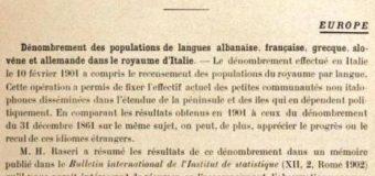 POPULLSIA E KOMUNITETIT SHQIPTAR NË ITALI NË VITIN 1901