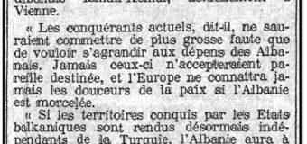 Neue Freie Presse (8 Nëntor 1912): Intervista e Ismail Qemalit në Vjenë për pavarësinë e Shqipërisë