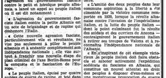 L'HUMANITÉ (1939) / NJË THIRRJE NGA PARTIA KOMUNISTE ITALIANE : « JASHTË SHQIPËRISË TRUPAT ITALIANE ! TË MBROJMË PAVARËSINË E POPULLIT HEROIK SHQIPTAR ! »