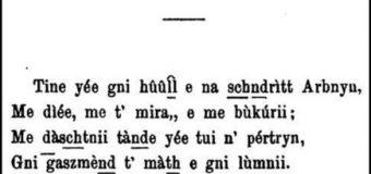 Kënga origjinale e Zef Jubanit dedikuar Princeshës Dora d'Istria (Trieste, 1871)