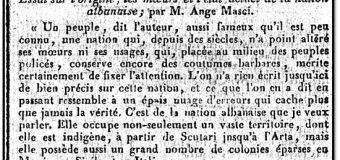 """Arbëreshi Angelo Masci në Journal de l'Empire (1808) : """"Asgjë e saktë nuk është shkruar deri tani për kombin shqiptar"""""""
