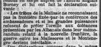 """Le Petit Parisien (1913): """"Krerët e fiseve Hoti, Gruda, Kelmendi, Kastrati e Shkreli kundërshtojnë kufirin me Malin e Zi"""""""