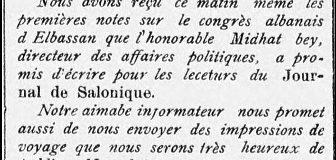 """5 shator 1909: Letra e Mit'hat Frashërit dërguar drejtorit të """"Journal de Salonique"""""""