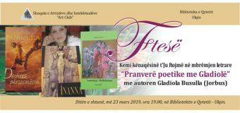 Sonte mbrëmje letrare me  autoren Gladiola Busulla